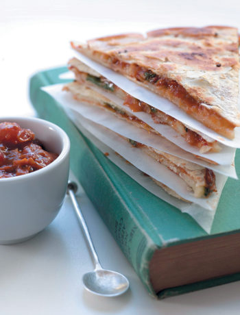 Tomato-chilli relish and mozzarella tortillas