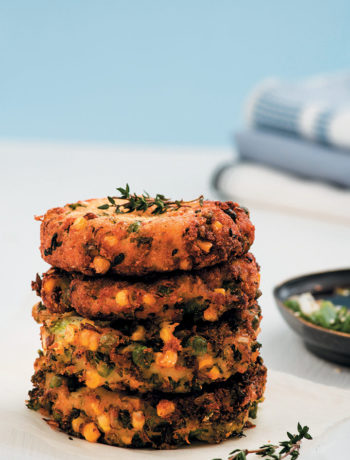 Cabbage and potato cakes with Asian dipping sauce
