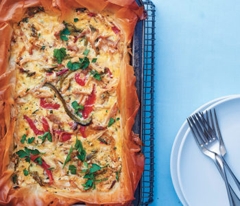 Chicken and rainbow pepper quiche