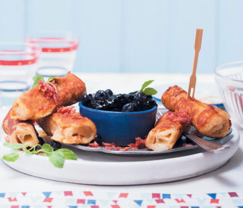 Cinnamon and Brie French toast roll-ups with blueberry compote