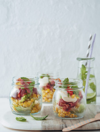 Layered cobb-salad jars