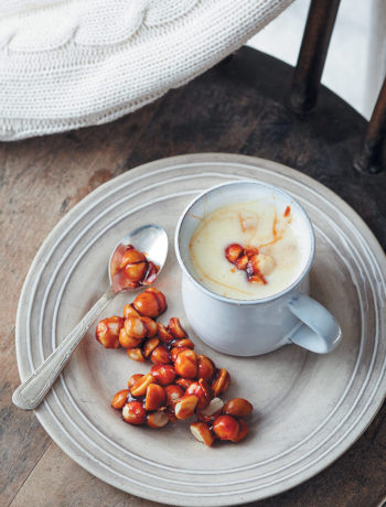 White hot chocolate with macadamia praline