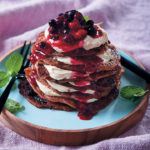 Cassava flour flapjacks with cream cheese and berry compôte