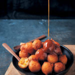 Corn and buttermilk fritters with salted caramel sauce