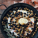 Grande Brie with lemon, olives and chorizo