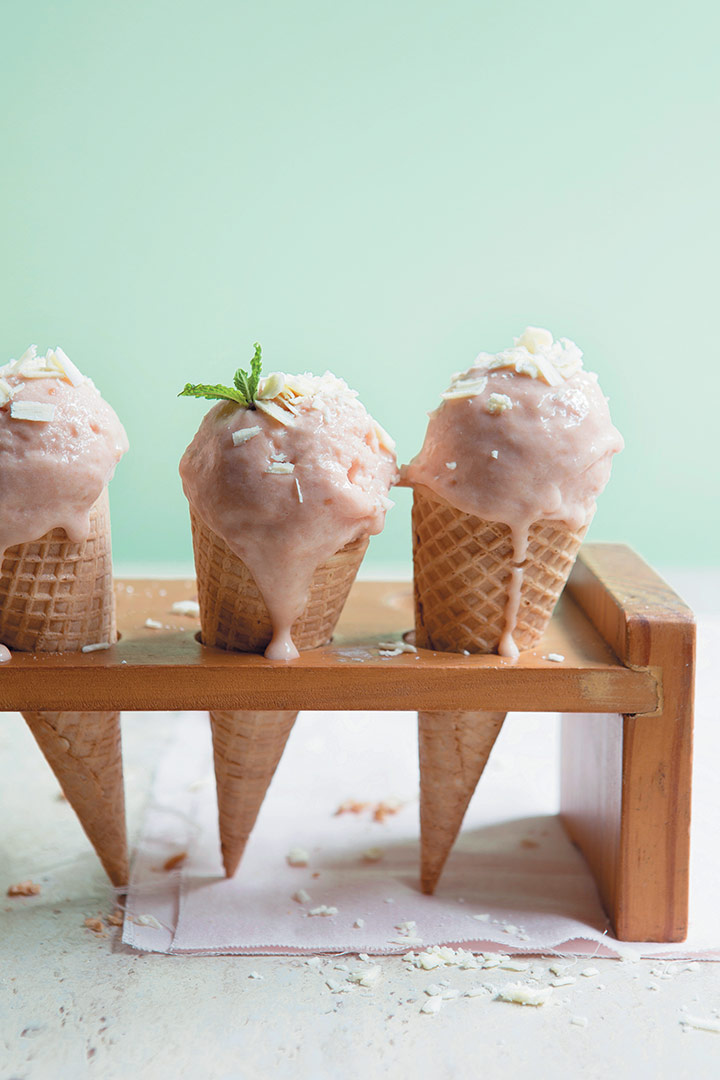 Hawaiian guava and condensed-milk ice cream