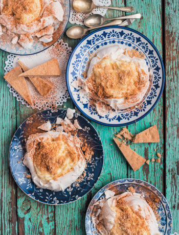Milk tart Pavlovas with cinnamon shortbread crumble