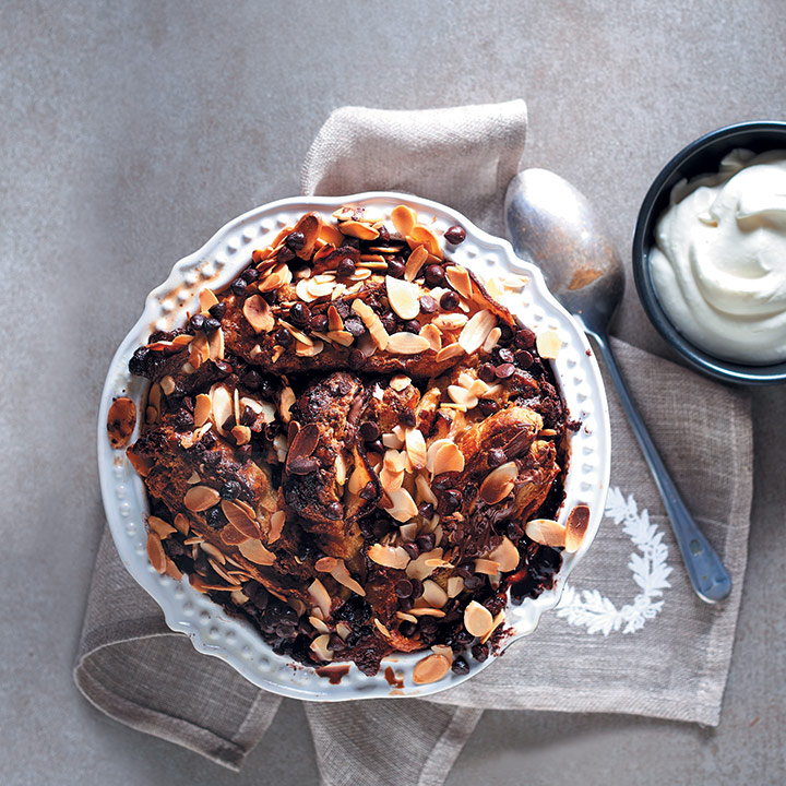 Croissant, chocolate and pear pudding
