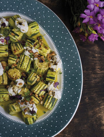 Roasted zucchini with labneh, za'atar and pine nuts