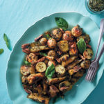 Herb-roasted baby potatoes and parsnip basil pesto salad