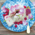 Raspberry and rose-water yoghurt semifreddo with sugared rose petals