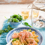 Fusilli tossed in a creamy lemon sauce with baby marrow ribbons and prawns