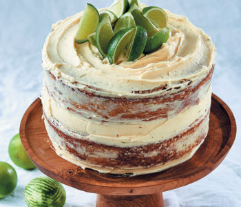 Juniper and lime cake with cream cheese icing
