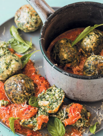Basil, spinach and ricotta gnudi with red pepper and tomato sugo