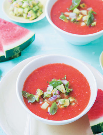Chargrilled watermelon gazpacho with avocado salsa and garlic toast
