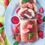 Frozen chocolate and strawberry roulade