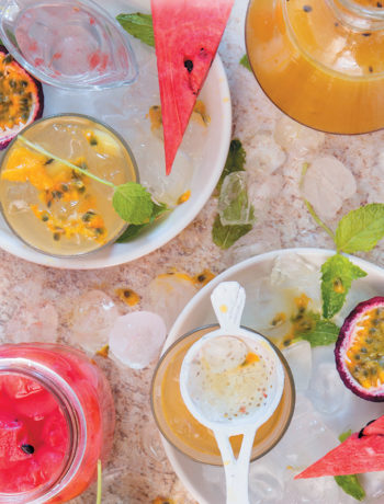 Granadilla, ginger and cucumber cocktail with watermelon-infused gin