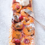 Grape and peach tarte Tatin