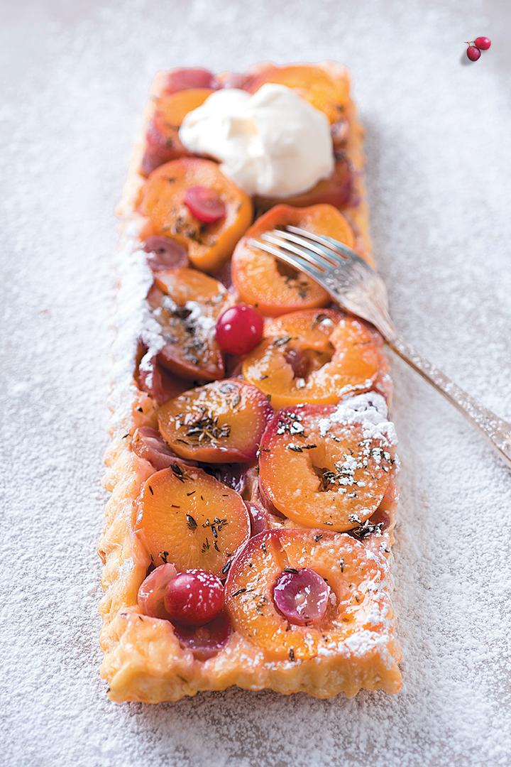 Grape and peach tarte Tatin