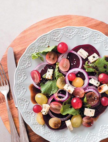 Grape, onion, beetroot and blue cheese salad