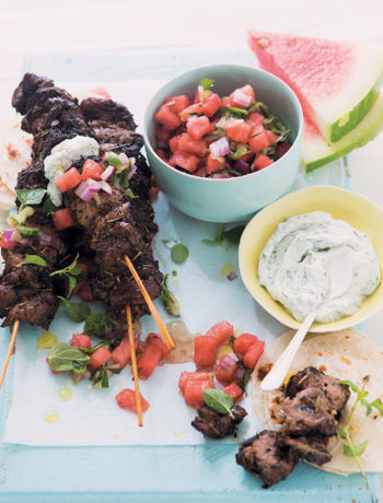 Lamb kebabs with watermelon salsa and dill yoghurt sauce