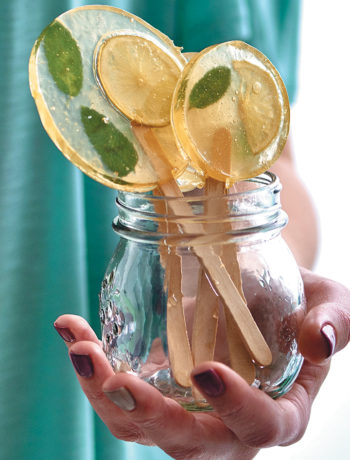 Lemon mojito lollipops