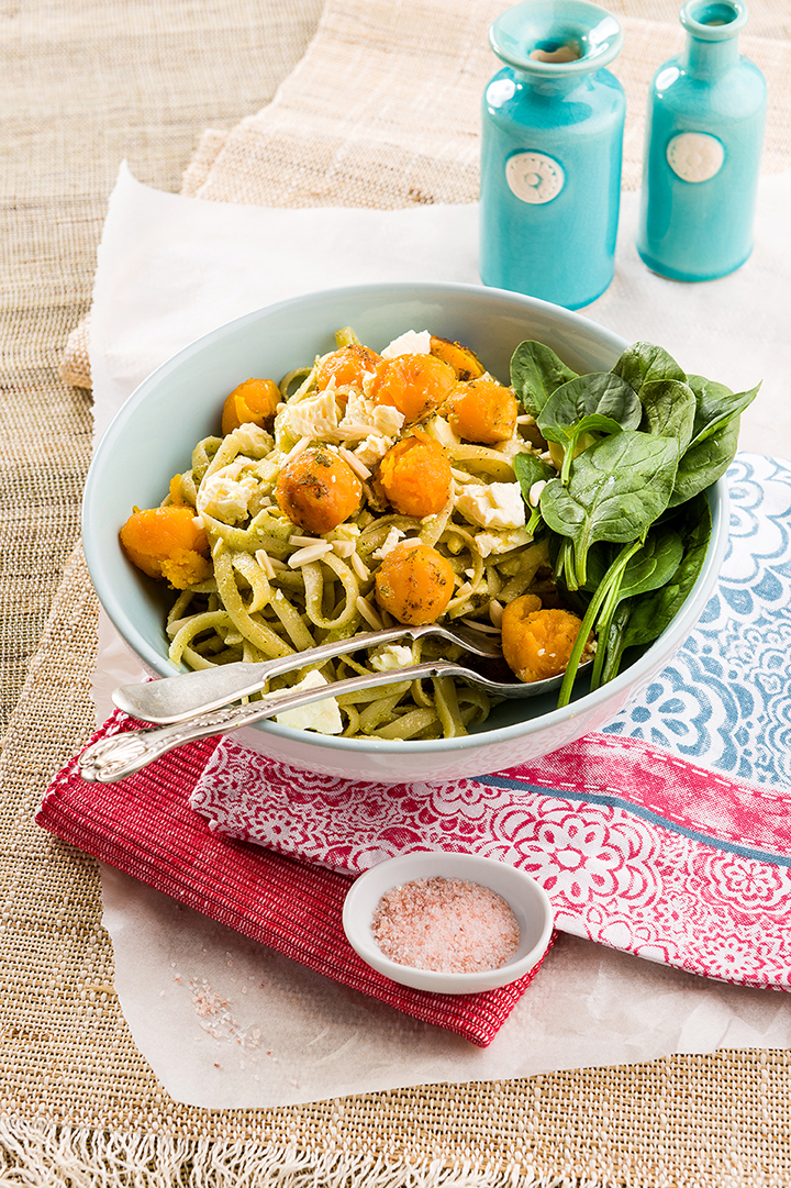 ROASTED BUTTERNUT, SPINACH AND FETA TOSSED IN A SAGE AND MACADAMIA PESTO