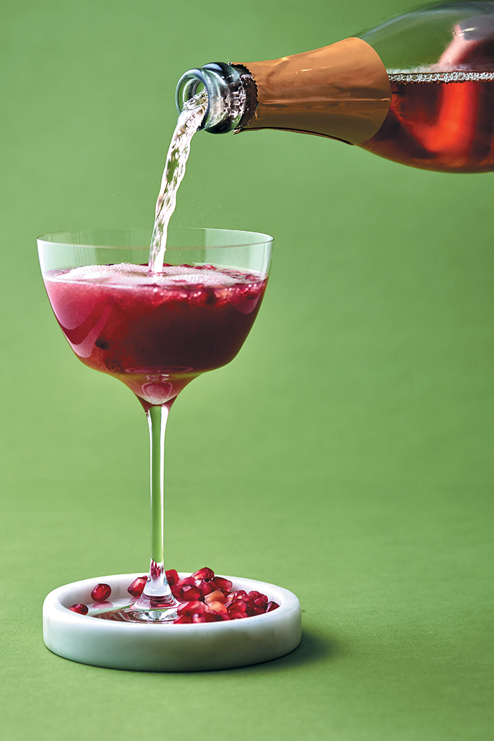 Rosy sparkling cocktail with pomegranate