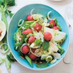 Shaved celery, fennel and watermelon salad with almonds, Parmesan and avocado dressing