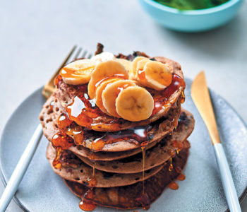 Blueberry buckwheat flapjack stack