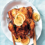 Lemon and rosemary roast chicken with chorizo stuffing