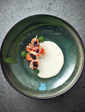 Cauliflower vichyssoise with smoked trout and caviar
