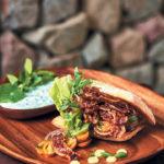 LBLT(lamb, bacon, lettuce and tomato) sandwiches