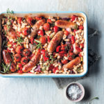 Pork banger and cannellini-bean bake