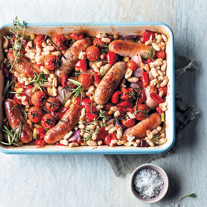 Pork banger and cannellini-bean bake