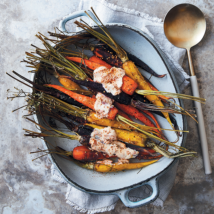 Roasted carrots with chilli and cumin yoghurt dressing