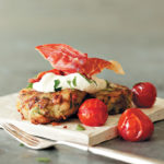 Bubble and squeak cakes with crème fraîche and Parma ham