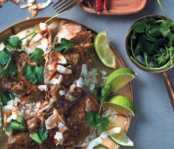 Caribbean-inspired chicken breasts with coconut rice