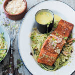 Curried trout on baby marrow noodles with coconut and coriander cream