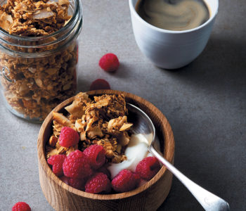 Rum-laced coconut, cashew and oat granola