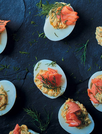 Stuffed boiled eggs with rooibos-infused trout