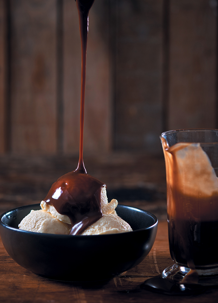 The ultimate vanilla ice cream with Bar-One brandy-laced chocolate sauce