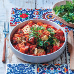 Tomato, aubergine and parsnip stew with torn roasted tofu