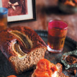 Gluten-free chai banana bread with toasted coconut butter and stewed dried fruit