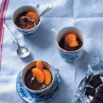 Chocolate crème pots with spice-caramelised naartjies