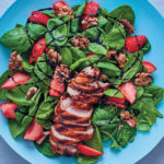 Grilled chicken, spinach and strawberry salad