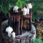 Magical forest chocolate log cake
