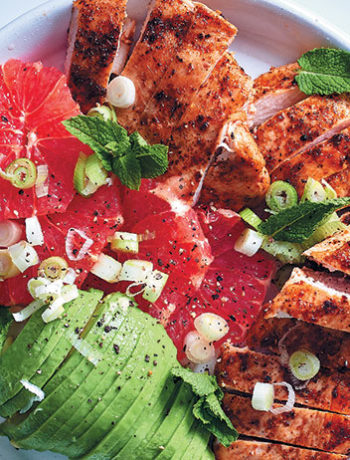Pan-fried chicken breasts with avo, grapefruit and spring onion salad