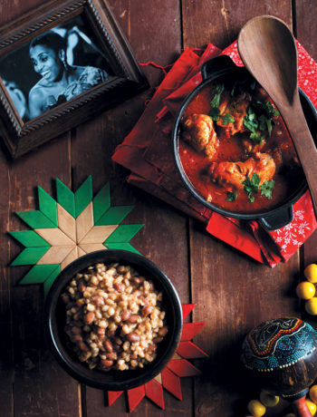 Traditional curried chicken stew with samp and beans