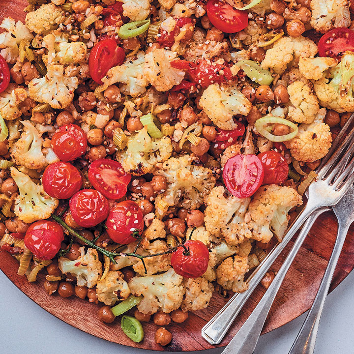 Cauliflower and chickpea bake